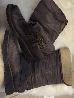 Taupe gräulichebraune Winter Stiefel mit 2 schnallen an der Seite, used look