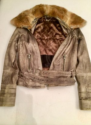 Leather Jacket grey brown-taupe