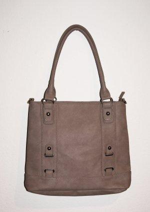 Borsa shopper marrone-grigio Finta pelle