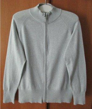 Tchibo - Damen Strickjacke Cardigan Stehkragen Langarm uni grau 80% Baumwolle Gr. 48