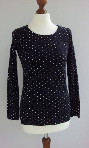 Tchibo Langarm-Shirt in 32/34 (36), Schwarz / Weiß, Herzchen-Print, NEU
