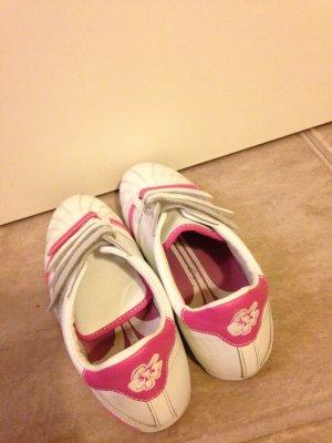 Tchibo Schuhe, PINK-weiße Schuhe, Blümchen auf der Rückseite versehen