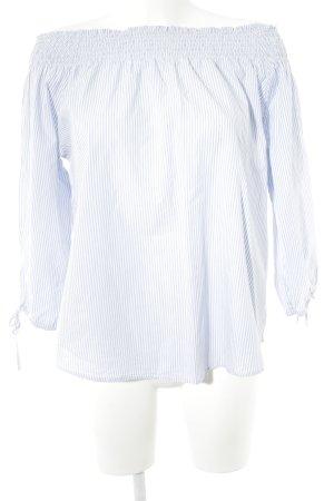 Tchibo / TCM Blouse Carmen bleu azur-blanc motif rayé style décontracté