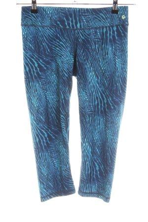 Tchibo / TCM Leggings dunkelblau-petrol abstraktes Muster sportlicher Stil