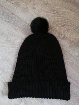 Tchibo/TCM Strickmütze mit Fellbommel (Fake-Fur) in schwarz - neu ohne Etikett -
