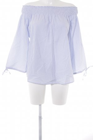 TCM Carmen Blouse white-baby blue striped pattern casual look