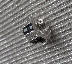 TCM Creolen 925 Sterlingsilber m. schwarzen u.weißen Zirkonia wenig getragen
