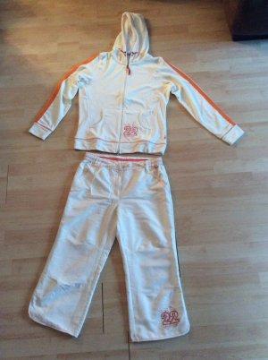 Tchibo / TCM Leisure suit natural white-orange