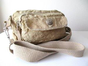 TCM kleine Umhängetasche Variotasche Gürteltasche Crossbag beige Crinkle-Optik