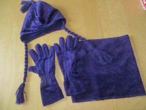 TCM Set lila Mütze Loop Handschuhe kuschelig