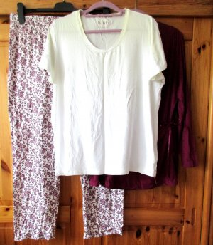 TCM Tchibo - 3teiliger Damen Schlafanzug/ Pyjama Wickeljacke mit Spitze, Gr. XL 48/50