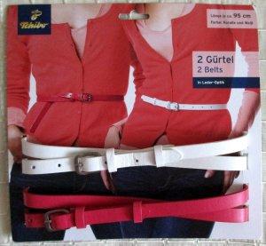 Tchibo / TCM Faux Leather Belt white-pink imitation leather
