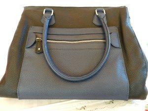 TCM Tchibo Handtasche mit rundgenähten Henkeln - Blau/Schwarz - neu