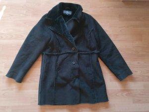 TCM Tchibo Wildleder Winter Mantel schwarz gefüttert Gr 38 40 42