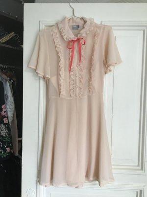 Tea Party tee Kleid schick rosa rüschen Schulmädchen Schleife gossip girl Mini Ärmeln