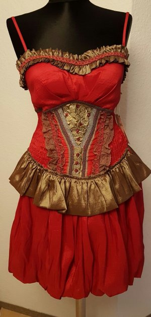 Robe de cocktail rouge-brun sable polyester