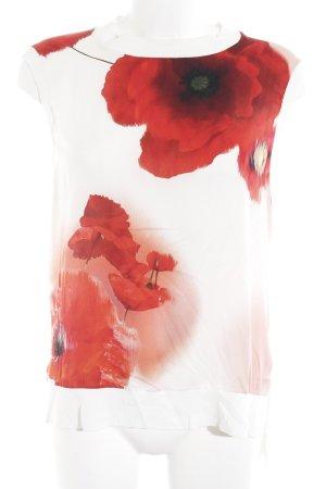 Ted baker ärmellose Bluse wollweiß-rot Blumenmuster Elegant