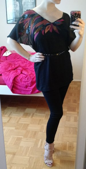 Ted Baker Bluse Gr. 34 XS Seide Seidenbluse schwarz oberteil tunika shirt luxus
