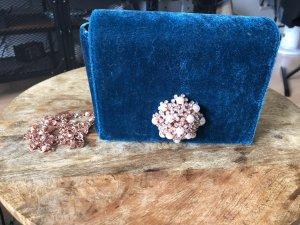 Ted Baker clutch samt blau Perlen Brosche Strass