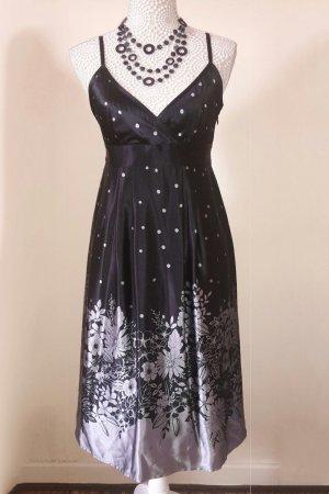Ted Baker Kleid 100% Seide Midikleid Cocktailkleid Größe 2 (38) schwarz grau silber