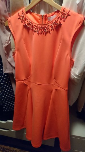 Ted Baker Kleid orange mit Perlen am Kragen in Gr. 3