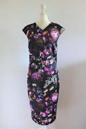 Ted Baker Midi Boho Scandi Kleid schwarz lila Blumen Gr. M 38 (40)