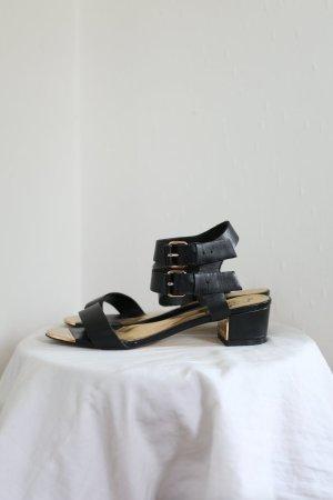 Ted Baker Sandalen Echtes Leder Vintage Sixties Stil Gr. 37 schwarz Gold