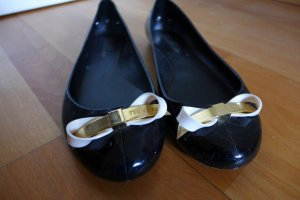 Ted Baker Schuhe Ballerinas Flats Gummi schwarz weiß gold Gr. 39
