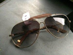 TED BAKER - Sonnenbrille - Pilotenbrille, Lederdetails, NEU