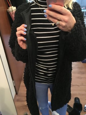 Teddy Mantel Coat Oversize Flausch Zottel Lammfell Fake Fur Fell Pelz Leder