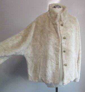Teddy Mantel Jacke FOX`S Größe 40 42 Beige Fledermaus Plüsch Fake Fur Kurzmantel Oversize Retro