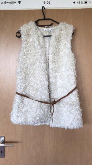 H&M Smanicato di pelliccia bianco sporco