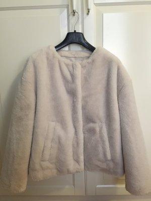 Zara Trafaluc Fake Fur Jacket white-natural white