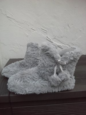 Stivale da casa grigio chiaro Pelliccia ecologica