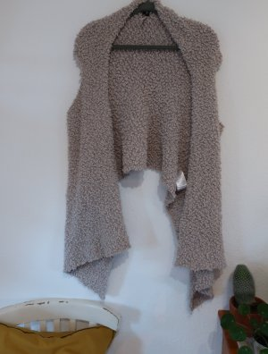 Flame Long Knitted Vest grey brown