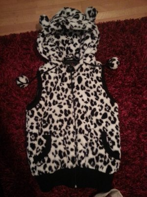 Hooded Vest black-white