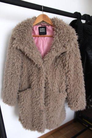 Zara Manteau en fausse fourrure marron clair