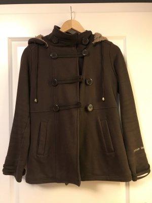 Bershka Hooded Coat brown