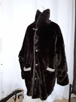 Teddyjacke Fake Fur Kunstfelljacke Webpelz Wendejacke Vintage Stehkragen Gr. 36-40 dunkelbraun beige