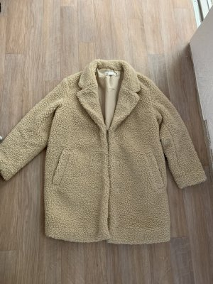 H&M Abrigo de piel sintética beige claro-crema piel artificial