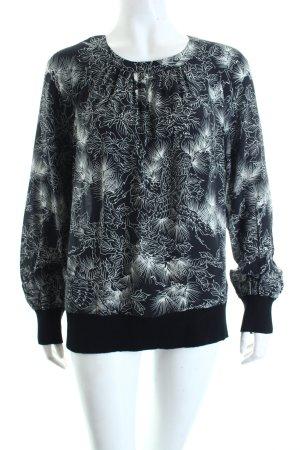 Tegan Schlupf-Bluse schwarz-weiß florales Muster Casual-Look