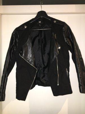 Teilederjacke schwarz bikerlook
