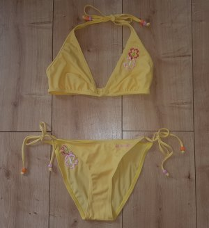 Teisumi Triangel Bikini Neckholder Gelb Blumen Sommer Urlaub Strand Meer Bademode Sexy S 36