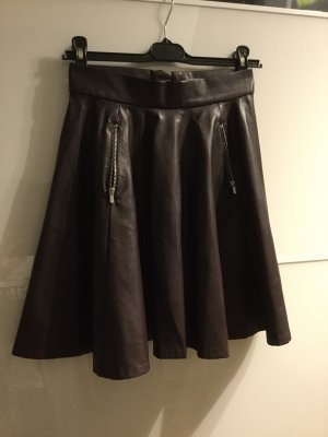 H&M Jupe en cuir synthétique brun pourpre-violet foncé faux cuir
