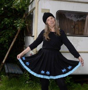 Jupe corolle noir-bleu fluo coton