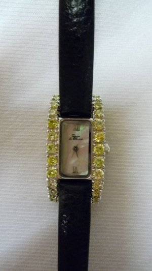 Watch With Leather Strap silver-colored-pale green metal