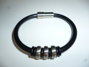 Bracelet black-silver-colored stainless steel