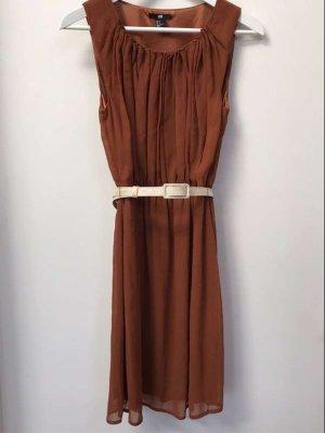Terrakotta / Rost / Braunes Kleid, mit Raffungen, Satin-Innenkleid, H&M, 34, Taillengürtel