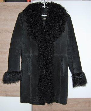 TERRANOVA Leder Damen Mantel mit Merinowolle Kragen, Schwarz, Größe: S