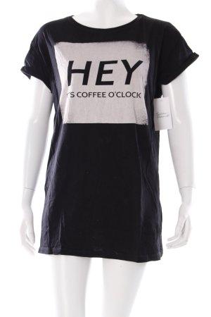 Terranova T-Shirt schwarz Schriftzug gedruckt Casual-Look